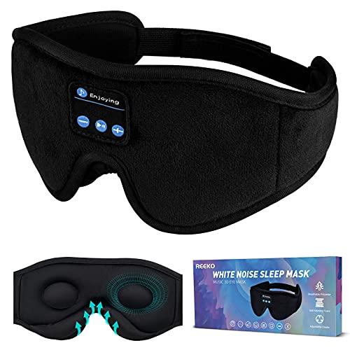 REEKO Sleep Mask Bluetooth Headphones, White Noise 3D Contoured 100% Blackout Eye Mask, Cool Tech Gadgets,Black M
