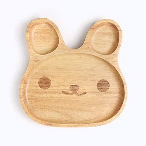 AWJ Plato de madera maciza para niños Snack Dish Plato de madera de goma de la fruta del melón