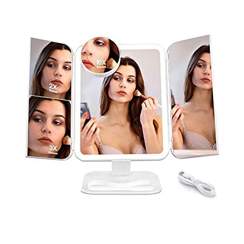 Kinsea Schminkspiegel,Dreifach Gefalteter Schminkspiegel mit 2X 3X 10X Vergrößerung,68 LED-Leuchten,Faltbar Dimmbar Makeup-Spiegel,180 ° Drehbarer Tischspiegel,mit Kosmetik Organizer,für Rasieren