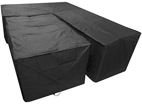 Woodside Black L Shape Outdoor Dining Patio Set Cover Large Right Side Long