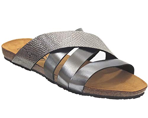 PLAKTON, Man Perla 575915 Metal lux Naga cor, Femme Mule Gris métallisé - 38 EU