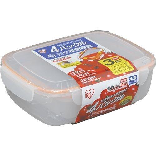 アイリスオーヤマ 4バックル完全密閉容器 330ml×1個+590ml×1個+2650ml×1個セット オレンジ