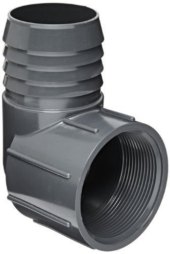 Spears 1407 Series PVC Tube Fitting, 90 Degree Elbow, Schedule 40, Gray, 1-1/2' Barbed x NPT Female