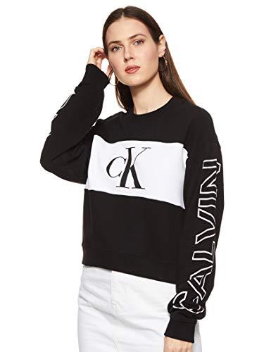 Calvin Klein Jeans Damen Blocking Satement Logo Crew Neck Pullover, CK Schwarz/Hellweiß, M