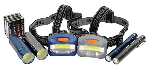 LED Flashlight, Penlight, & Headlamp Combo - Batteries Included
