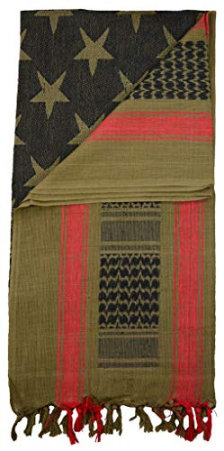 Mato & Hash Stars And Stripes Military Shemagh Tactical 100% Cotton Scarf Head Wrap - Olive Drab CA2100STARS