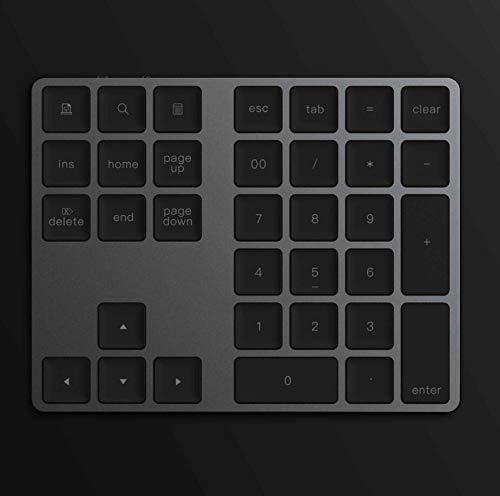 WLWLEO Digitaal draadloos bluetooth-toetsenbord met 34 toetsen, van aluminium, met geïntegreerde accu, voor Apple notebooks
