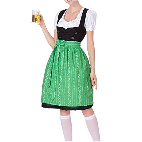 WUSIKY Dirndl Damen Dirndlbluse Oktoberfest Trachtenbluse Bierfestkleid Bayerisches Bierfest Cosplay KostüMe (Grün, XL)