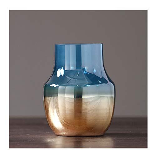 Jarrones Nordic Creativo florero de Cristal Azul Transparente jarrón de Flores de la Moderna Casa de Lujo de la Sala de Escritorio Ornamentos Decorativos jarrón (tamaño : A)