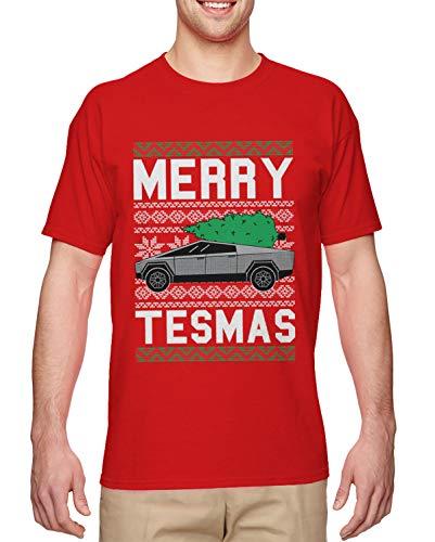 Merry Tesmas - Cybertruck Futuristic Car Meme Men's T-Shirt (Red, X-Large)
