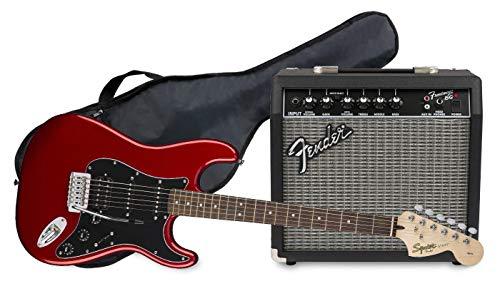 Fender Squier Affinity Stratocaster LRL HSS Candy Apple Red + Frontman 15G + Funda Guitarra Eléctrica