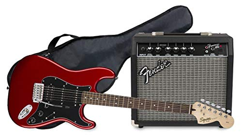 Fender Squier Affinity Stratocaster LRL HSS Candy Apple Red + Frontman 15G...