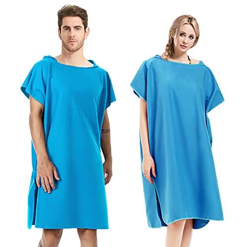 Aceshop Poncho de Playa, Poncho de Toalla con Capucha Toalla con Capucha de Microfibra, Poncho de Surf Secado Rápido para Hombre y Mujer (Azul)