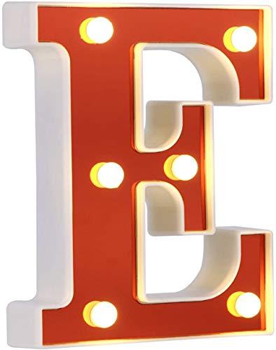 DUBENS Beleuchtete Nummer Brief LED Licht, Kreative Nachtlichter, LED Beleuchten Englisch Buchstaben, Alphabet Zahlen Lampe, Rot Dekoration Lichter, Batteriebetrieben (E)