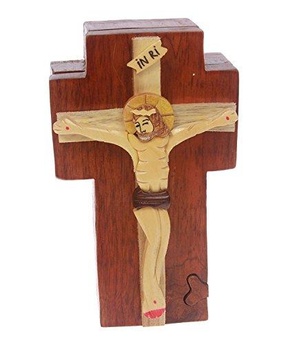 beltiscool Hecho a mano de madera Jesús en un secreto de Cruz joyas caja de Puzzle–Jesús en una cruz