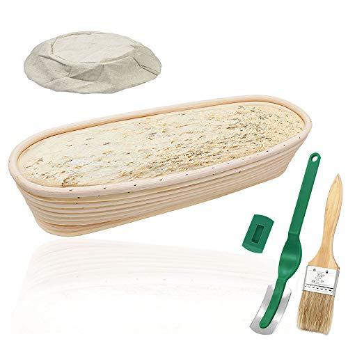 """YOCZOX Banneton cesta de pruebas 14"""" Ovalado Banneton Brotform cuenco de ratán cesta para fermentación de masa para 1000 g de masa - 35 cm"""