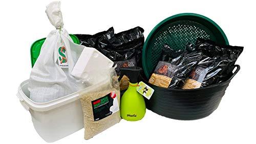 SUPERWURM Premium Einsteigerpaket mit 0,5 kg Wurmmix - Regenwürmer, Dendrobena, Angelwürmer, Angelköder, Lebendköder, Futterwürmer, Wurmfarm