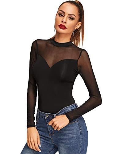 DIDK Damen Mesh Langarmshirt Stehkragen Einfarbig Elegant Shirt Oberteile Durchsichtiges Netz Langarm T-Shirt Casual Schwarz#3 M