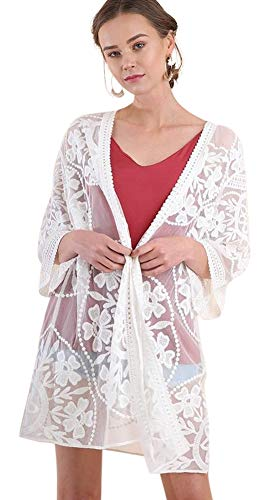 Umgee Oh Sweet Lace! Floral Lace Open Front Kimono with Waist Tie (XL, Cream)