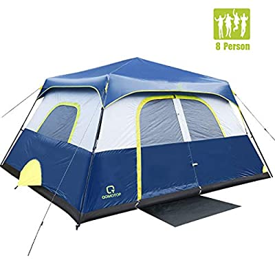 OT QOMOTOP Camping Tent, 8 Person 60 Seconds Set Up, Top Rainproof, 5 Ventilations, Sturdy Frame, Storage Bag, Seamless Gap, Electrical Cord Access Port, Gate Mat (8 People Tent(13 x 9ft))