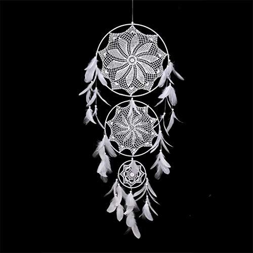Yousiju White Large Lace Dream Catcher Handmade Wall Hanging Pendant DIY Pompon Tasseled Wedding Girls Room Decor Dreamcatcher