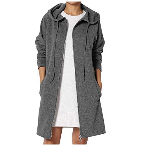 Lulupi Winterjacke Damen Lange Sweatjacke Kapuzenjacke Zip Hoodie Sweatshirt Solid Sweatshirtjacke Long Pullover Warm Kapuzenpullover