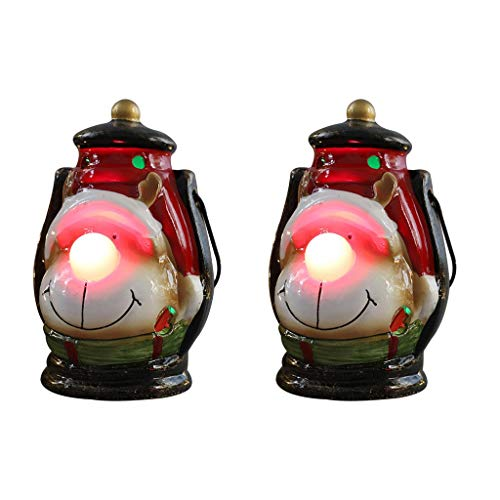 Jedewomi Christmas Decorations Night Light LED Christmas Wind Lantern Ornaments,2 Pack Indoor Lanterns Decorative,Outdoor Hanging Lantern,Decorative Candle (C)