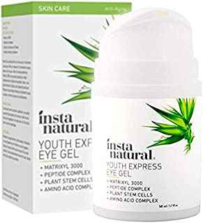 Eye Gel Cream - Wrinkle, Dark Circle, Fine Line, Puffiness, Redness Reducer - Anti Aging Blend for Men & Women with Hyaluronic Acid - Fight Bags & Lift Skin Under Eyes - InstaNatural - 1.7 oz