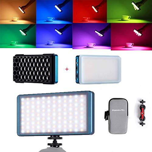 Falcon Eyes F7 - Lámpara de vídeo LED con rejilla de nido de abeja y difusor para videocámara DSLR 12W RGB 2500K-9000K formato de bolsillo bicolor CRI 98 20 efectos de iluminación