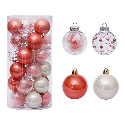WasonD - Set di 30 decorazioni per palle di Natale, 6 cm, trasparenti, con piume di fiori, infrangibili, per feste, decorazioni per albero di Natale, colore: Arancione e Bianco