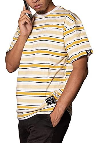 メンズ ボーダーtシャツ 半袖ボーダー Tシャツ ボーダー柄 ストライプ ユニセックス ビッグシルエット オーバーサイズ ボーダー ストライプtシャツ 半袖 トップス カットソー クールネック プリント 大きいサイズ 韓国 夏 夏服 春夏 おしゃれ カジュアル ファッション スケーター サーファー ストレッチ スポーツ ストリート かわいい 速乾 大きい 人気 半袖tシャツ イエロー M