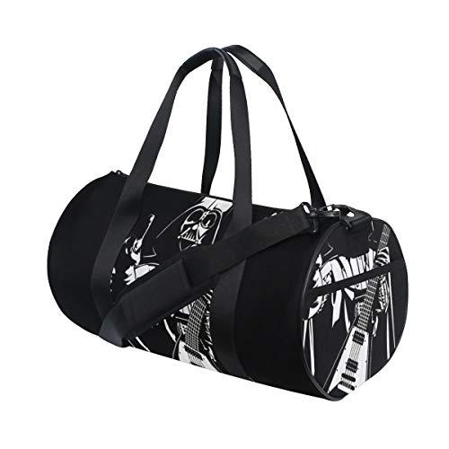 ZOMOY Bolsa de Deporte,Grunge Guitarra Música Músico Soldado Máscara de Calavera Vestir en Brazos Conducir,Nuevo de Cubo de impresión Bolsas de Ejercicios Bolsa de Viaje Equipaje Bolsa de Lona