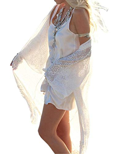ERGEOB Damen Spitze Lange Strickjacke Sonneschutzkleidung Strand Bikini Urlaub Hängerkleid weiß
