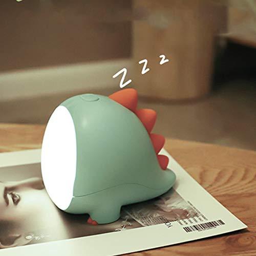 XJJ-Cute Dinosaur Night Light LED Gift Lamp, Indoor Decor Toy, Dimmable Turn Off Lights Regularly, for Home,Shelf,Bedside,Halloween,Christmas (Green Dinosaur)