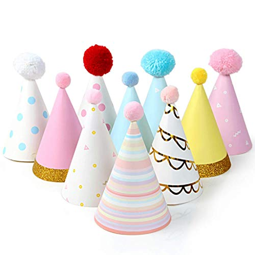 Colorful Party Hats - Fun Celebration Kit of 10 Cone Party Hats for Kids Birthday Party and DIY Crafts - Party Supplies for Group Activities, Games and Decorations
