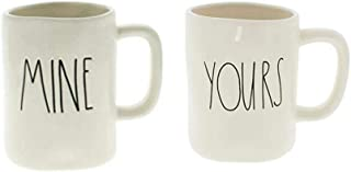 Rae Dunn MINE and YOURS Coffee Mug Set - Artisan Collection by Magenta (Funny Cute Home Decor Husband Wife Couple Wedding Anniversary Gift Present)