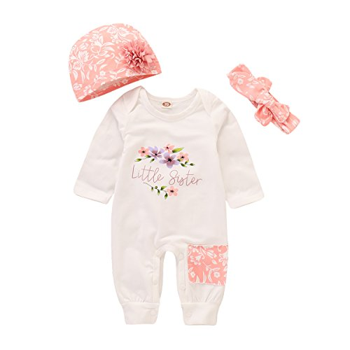 Baby Girl Clothes Little Sister Newborn Outfit Print Long Sleeve Romper + Hat + Headband Set 3Pc 0-3 Months