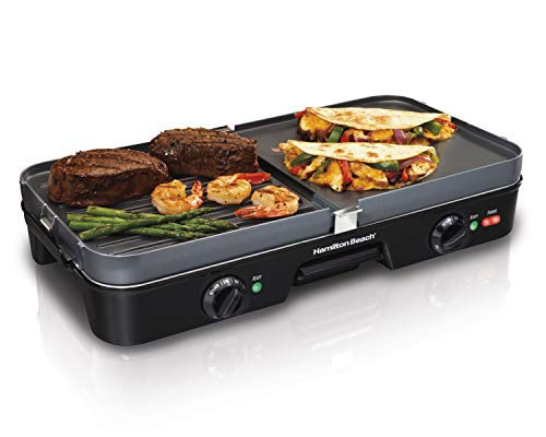 Hamilton Beach 3-in-1 Electric Indoor Grill + Griddle, 8-Serving, Reversible Nonstick Plates, 2...