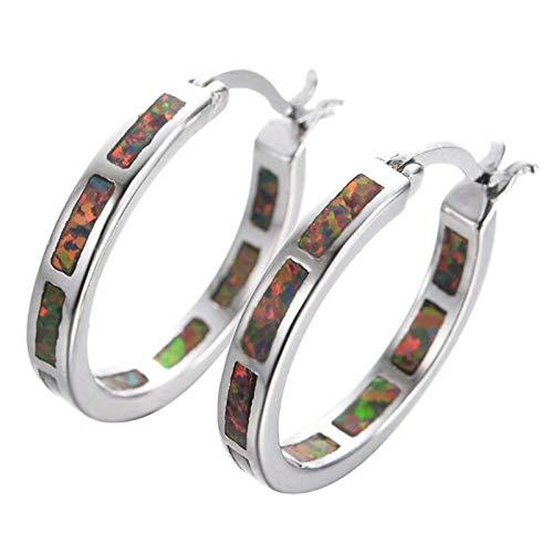 U/K Hoop Earrings 925 Sterling Silver Multi-Color Buckle Earrings Rhodium Plated Girl Mothers Day Birthstone Gift (Color : 2)