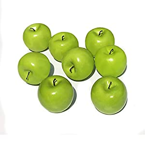 COTOSEY 8pcs Fake Fruit House Kitchen Party Decoration Children Toys Artificial Lifelike Simulation Fruit (8pcs Green Apples)