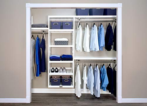 John Louis Home Deluxe 16 in. Deep Solid Wood Closet Organizer, Woodcrest White