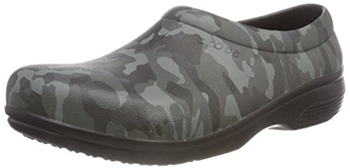 Crocs Unisex-Erwachsene On The Clock Graphic Work Slip-On Clogs, Schwarz (Black/Camo), 36/37 EU