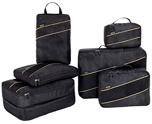 Do&B Set van 6 Packing Cubes voor koffer, rugzak, bagage, koffer Organizer Set incl. dubbelzijdige pakdobbelstenen, grote, middelgrote en kleine pakdobbelstenen (zwart)