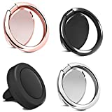 Rngeo Finger Ring Stand & Magnetic Mount Set, Pack of 4 Universal Thin 360 Degree Rotation Phone Rings & Air Vent Cell Phone Holder for Car, Compatible with All iPhone & Android Smartphones