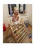 großes Kletterdreieck Art Pikler, Kindersicherung, fertig zusammengebaut aus unbehandeltem Holz / Buche, auf Wunsch mit Rutschbrett / Hühnerleiter