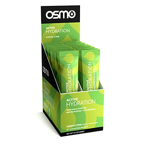 Osmo Nutrition Active Hydration   20-Count Single Serve Box   During-Exercise Electrolyte Powdered Drink   Fastest Way to Rehydrate   All Natural Ingredients (Lemon Lime, 20 Grams)