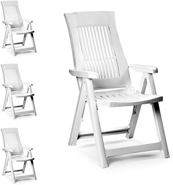 Mojawo 4 Stück Bequeme Klappstühle, Campingsessel für Terrasse, Garten, Balkon und Camping - 5-Fach Verstellbarer Gartenstuhl - witterungsBestendiger Positionssessel - Wei