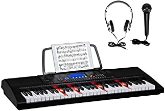 GLARRY 61-Key Portable Electronic Piano Keyboard w/Lighted Keys, LCD Screen, Microphone, Headphones, 3 Teaching Modes, Built-In Speakers