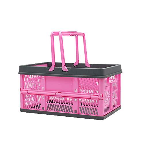 DaiHan Cajas Plegables con Asas - Cestas de Almacenamiento - Apilables Caja de Transporte Cesta de Compras Cesta de La Compra de Plástico Contenedores de Canasta,Rosa Gris,37L(45 * 32 * 26cm)
