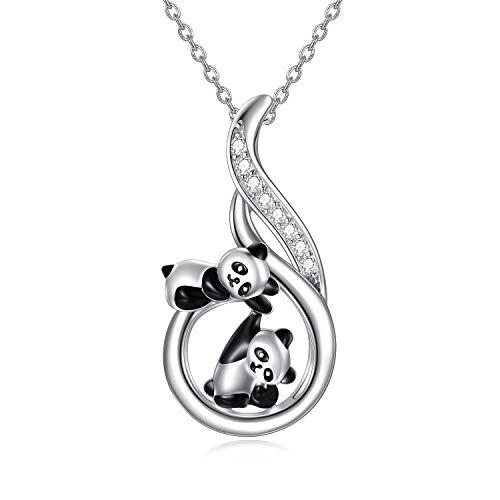 LONAGO Panda Halskette 925 Sterling Silber Niedlicher Tieranhänger Panda Bär Halskette Schmuck Geschenke für Frauen…